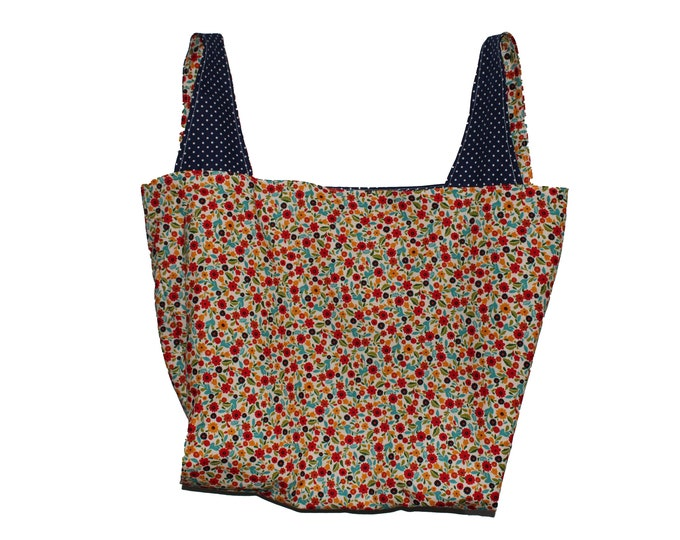 Red and Navy Floral Reversible Market Bag