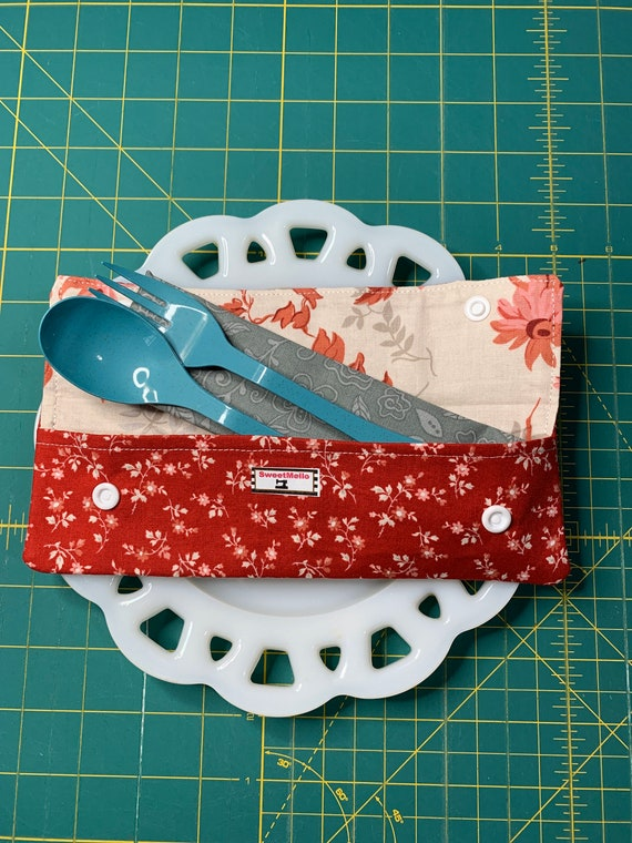 Red Floral Cutlery Case