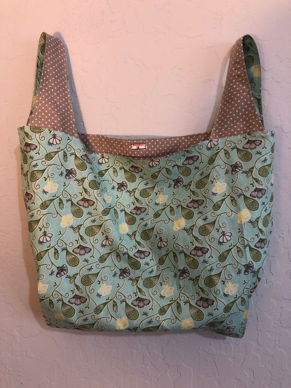 Blue Floral Reversible Market Bag