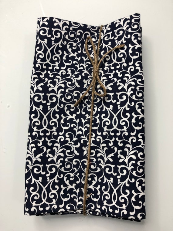 Navy Blue and White Flower Cloth Napkin