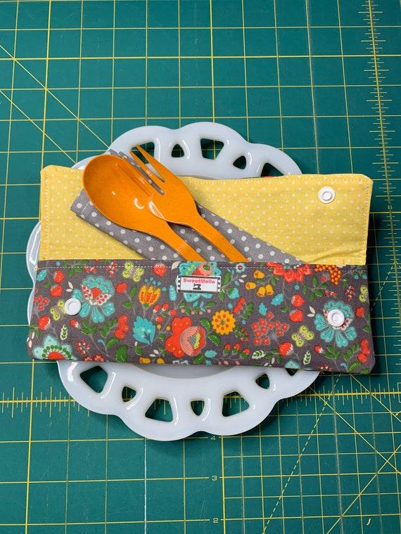 Grey Floral Cutlery Case
