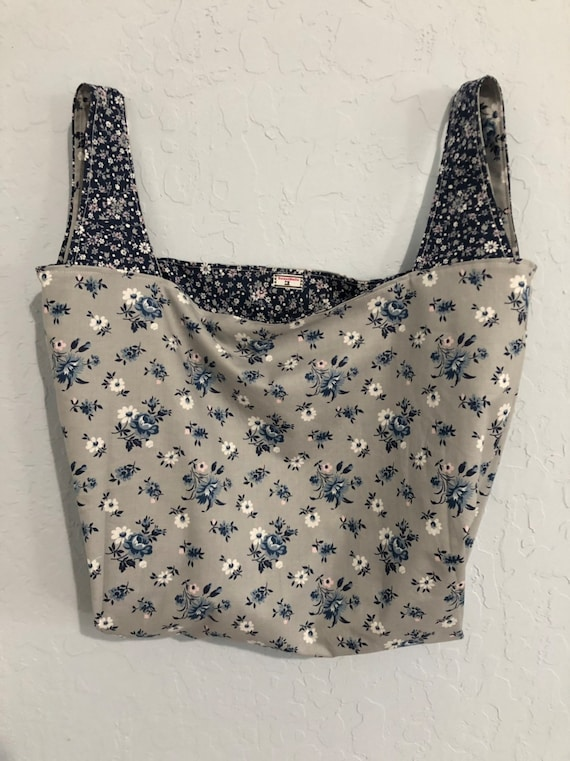 Navy and Grey Floral Reversible Market Bag