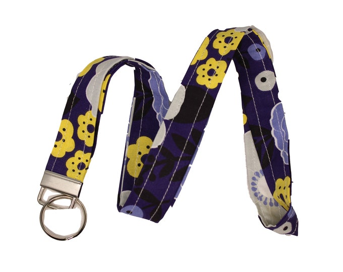 Purple and Yellow Floral Lanyard