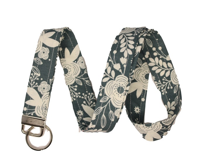 Blue and Cream Floral Lanyard