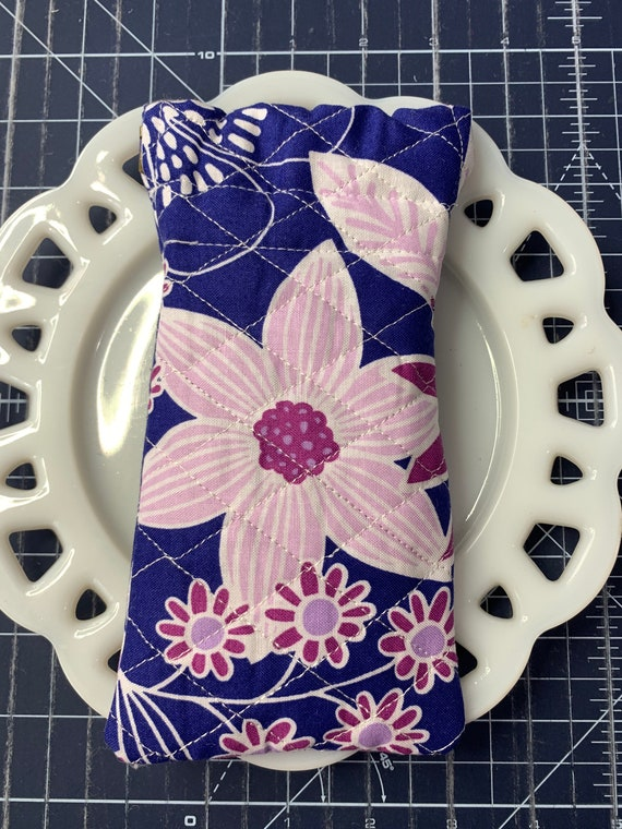 Quilted Glass Case with Flexible Frame Closure Purple Floral