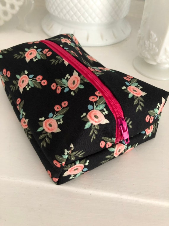 Black and Pink Floral Cosmetic Case