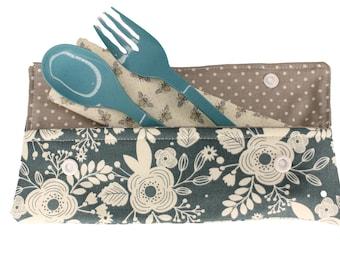Denim Blue Floral Cutlery Case