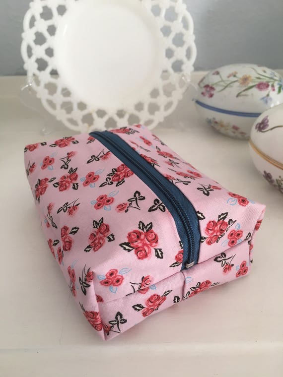 Pink Floral Cosmetic Case
