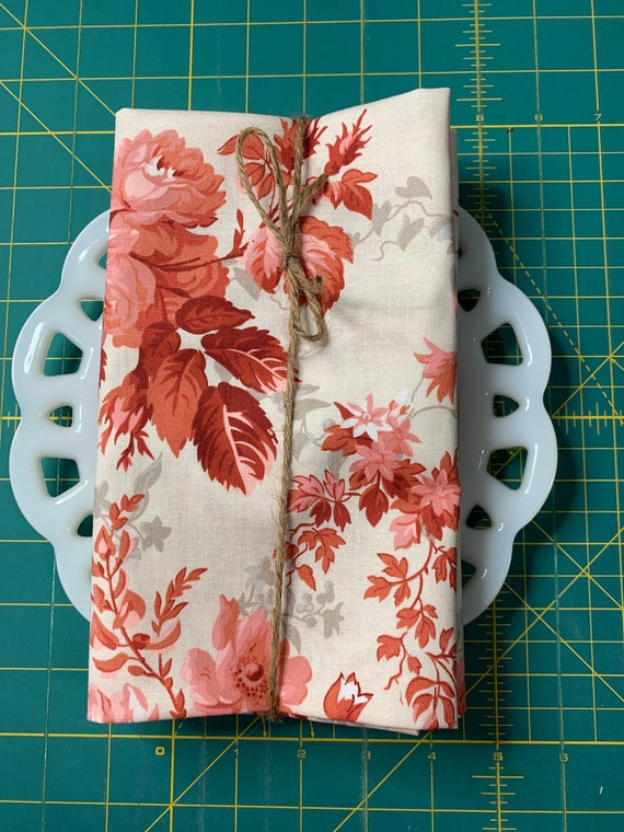 Red and Cream Floral Cloth Napkin