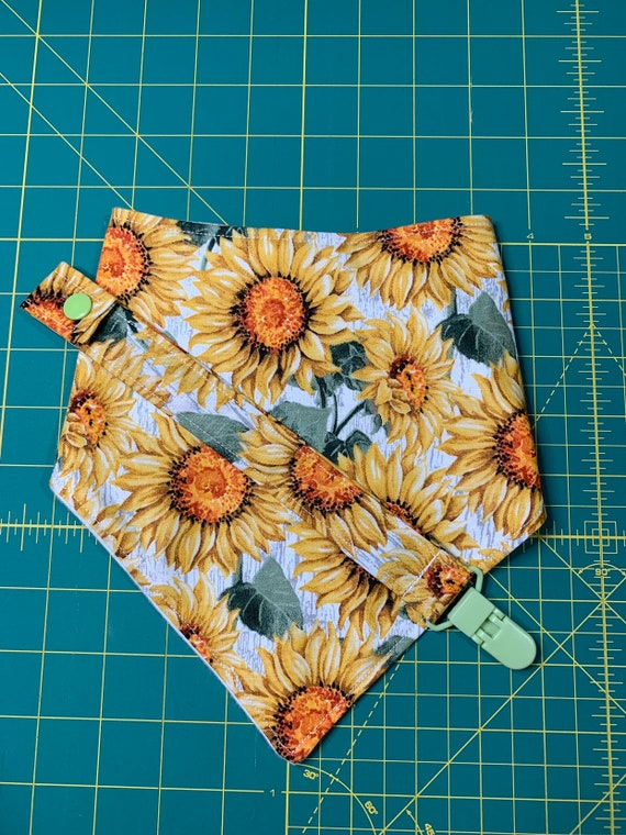 Sunflower Baby Bib and Pacifier Clip Set