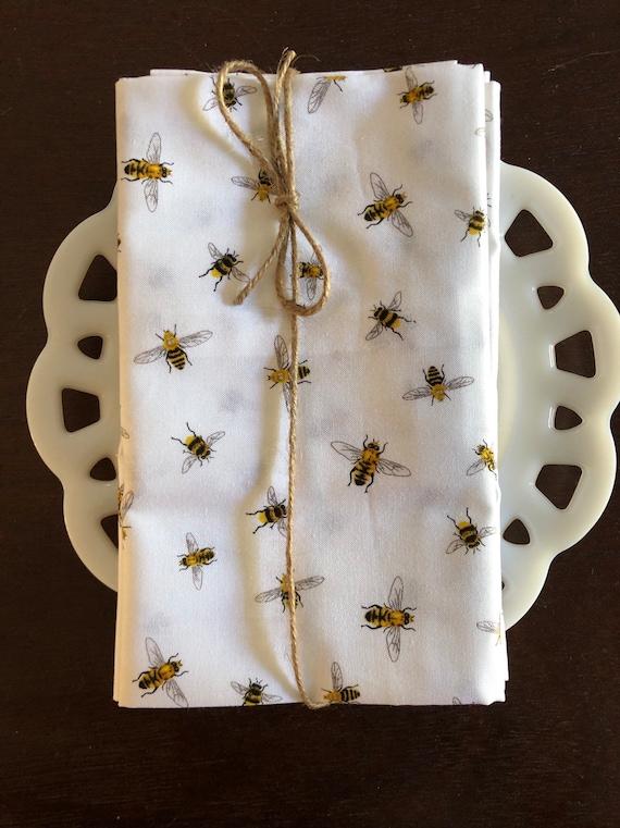 Bees on White Cloth Napkin
