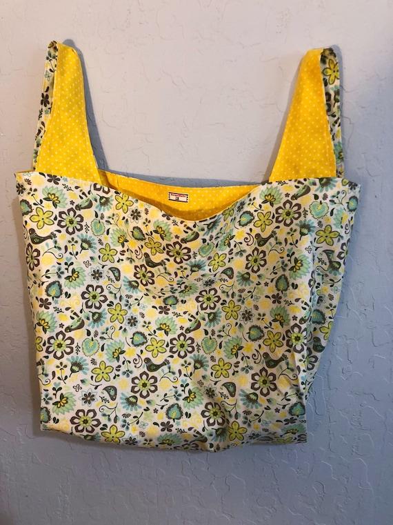 Bird Floral Reversible Market Bag