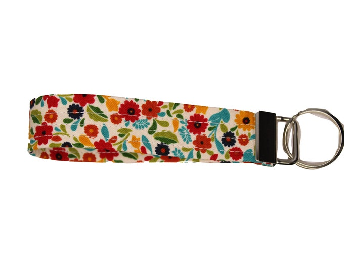 Bright Floral  Fabric Keychain