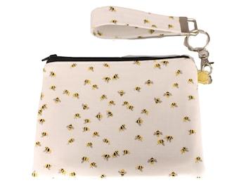 Petite White Bee Carly Wristlet