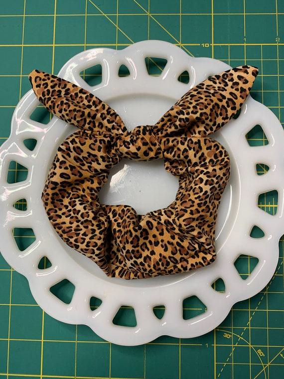 Leopard Bow Tie Scrunchie