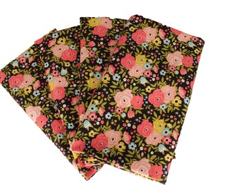 Dark Brown and Pink Floral Cloth Napkin