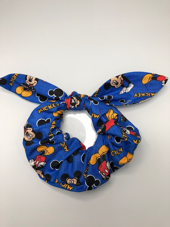 Bow Tie Scrunchie Blue Mickey Mouse