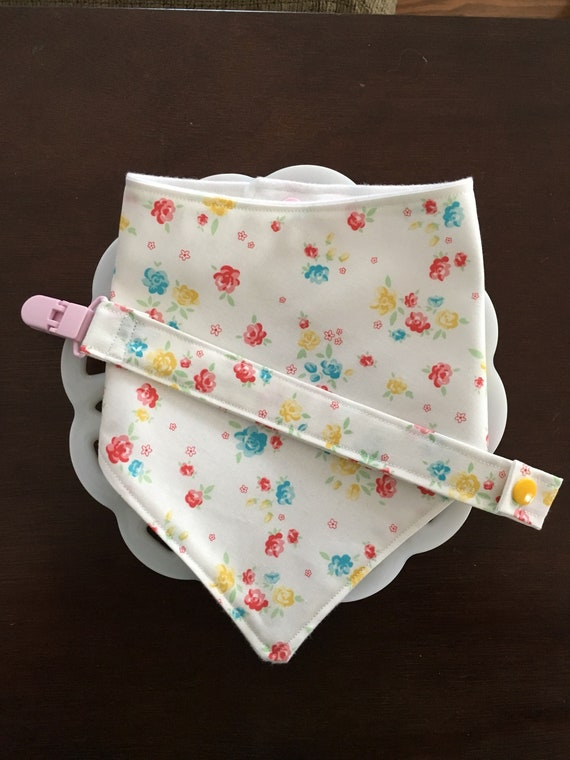 Flower Baby Bandana Bib and Pacifier Clip Set