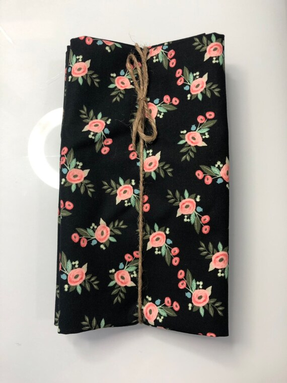 Pink and Black Floral  Cloth Napkin