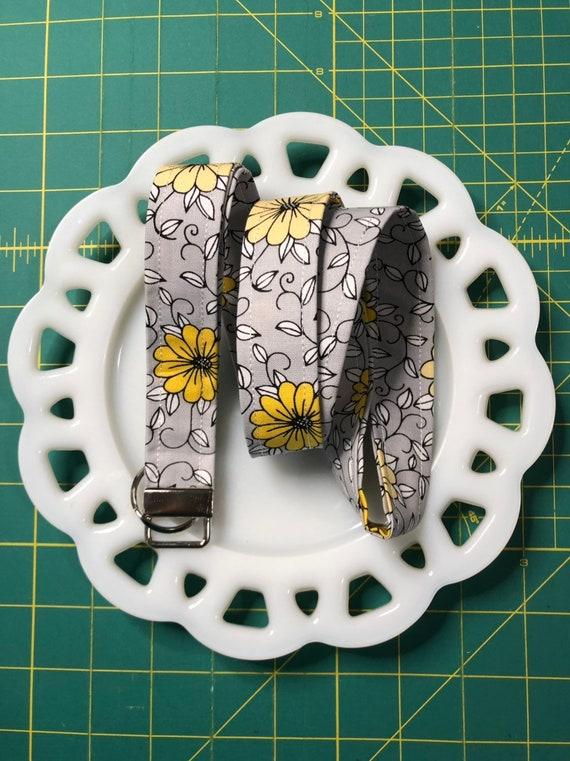 Gray and Yellow Flora Lanyard