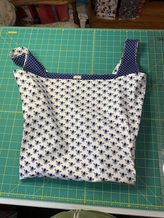Navy Bee Reversible Market Bag