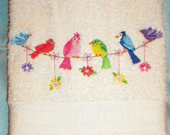 PAIR hand towels - Bird Clothesline -  15 x 25 inch for kitchen / bath MORE COLORS