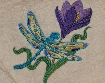 BATH towels 6 pc SET Embroidered - Dragonfly & Crocus - more colors available