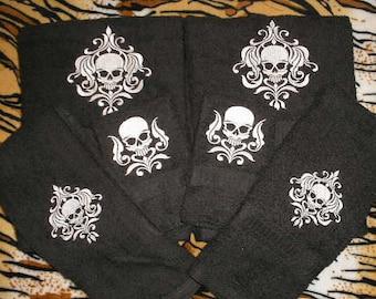 skull Bathroom towel Set - Damask SKULL - Embroidered 481e00231dc