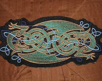 Embroidered Patch / applique - celtic dragon patch - sew, glue or iron on patch any colors celtic knotwork design dragon patch applique
