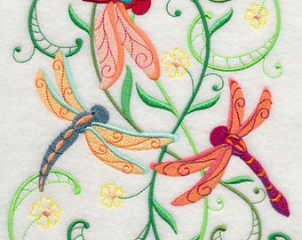 BATh towels 6 pc SET Embroidered - Dragonfly Delight