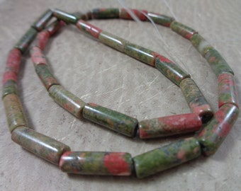 Unakite A Grade Gemstone Tube Beads to Make Jewelry With 4x13mm Beads Bulk Gemstone Beads Wholesale Jewelry Supplies and Beads Natural