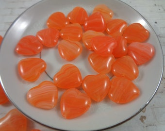 Orange and White Cube Resin Beads 8x7mm 12 Beads