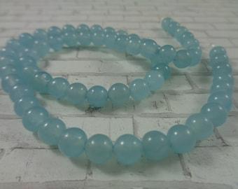 10mm 8mm 6mm Angelite in glacier-blue 4mm 12mm round beads -15.5 inch strand