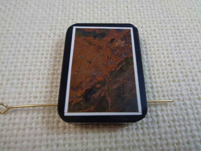1 Pretty Long Brown Orange Black Rectangle Shaped Pendant Focal Bead 32x23x6mm Flat Rich Brown Framed Stone Pendant Black Background #S2538