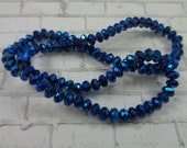 98 Sparkly Metallic Blue Faceted Rondelle Shaped Glass Beads 4x3mm Metallic Blue Glass Beads S3767