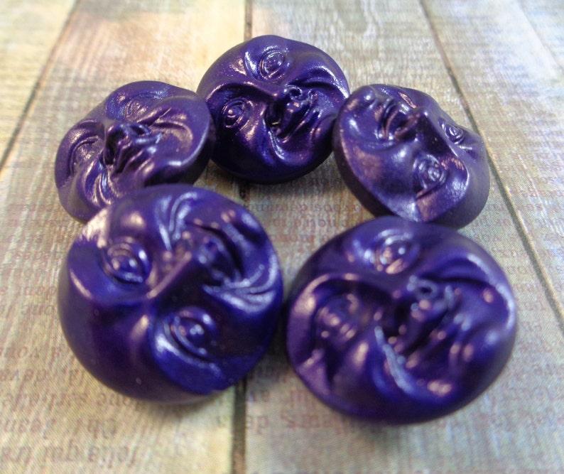 1 Dark Purple Satin Czech Glass Button 18mm Round Dark Purple Carved Moon Face Buttons Opaque Faces Satin Purple Moon Glass Button #T1331