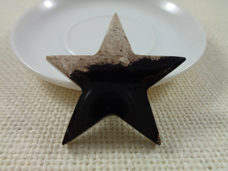 1 Indonesian Fossilized Palm Root Star Shaped Cabochon 40x5mm Thick Smooth Polished Star Shaped Cabochon NO HOLE Black Tan Cabochon #S4679