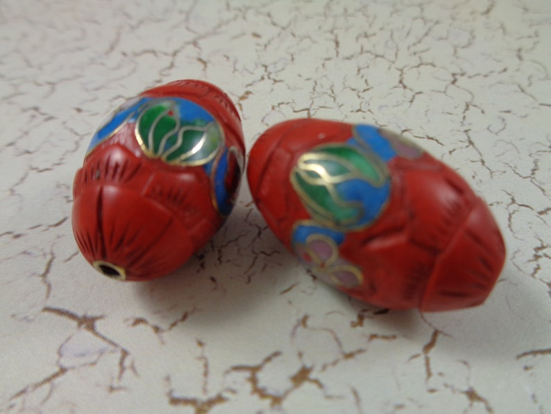 2 Lovely Red Clay Oval Shaped Floral Beads 28x16mm Red Textured Clay Flower Beads Pink Gold Blue Green Red Large Red Clay Beads Oval #S4518
