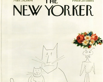 Vintage New Yorker Poster, 1954 Cover Art Print, 11 x 14 PMNY1, Glossy Print, Cats, Saul Steinberg