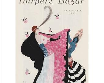Vintage Harpers Bazar Bazaar Cover Poster Print Art Fashion Item 5405M Nouveau 1915 Erte Matted To 11 X 14