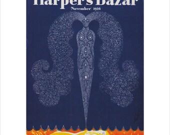 Vintage Harpers Bazar Bazaar Cover Poster Print Art Fashion Item 5412M 1926 Erte 1920s Matted To 11 X 14