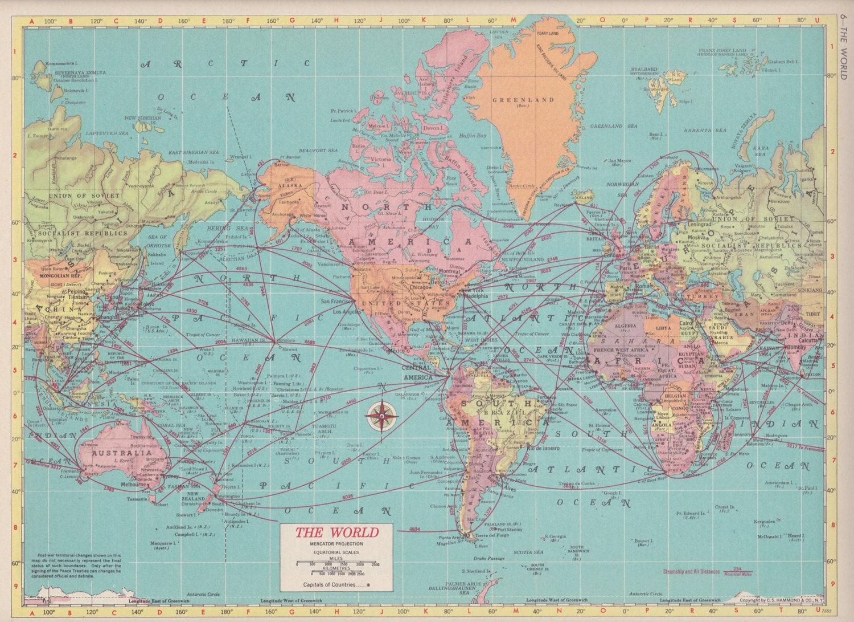 Vintage Map Art, Blue World Map, 1950s Mid Century Map Print, New