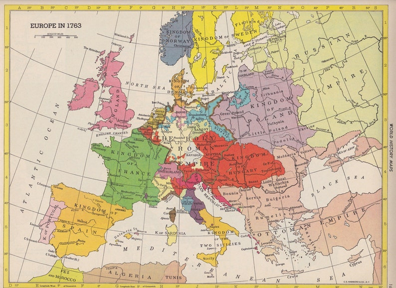 Map Of Europe 1950s.Vintage Map Art World History Map Europe In 1763 1950s Mid Etsy