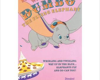 "Vintage Disney Parks Poster, Item 110M, 11"" x 14"" Matte, Mat, Disneyland, 1983, Dumbo, The Flying Elephant"