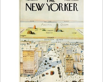 """Vintage The New Yorker Magazine Cover Poster Print Art, Steinberg, 1976 Matted to 11"""" x 14"""", Item 001, 9th Ave"""