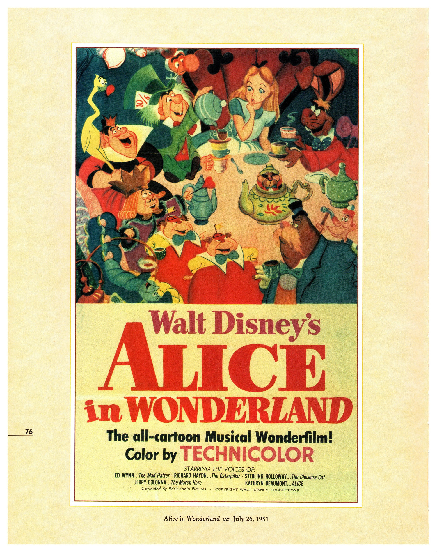 Vintage Disney Poster Print, 1951, Alice in Wonderland, Item 105 ...