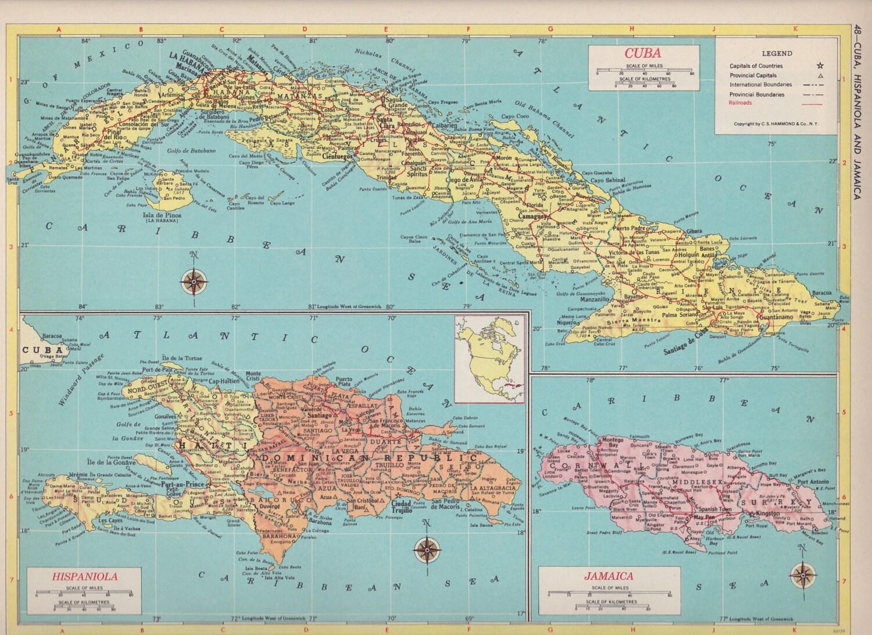 Map Of New York Jamaica.Vintage Map Art Cuba Hispanola Jamaica 1950s Mid Century Map