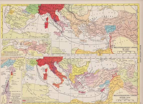 Vintage Map Art, World History Map Europe in 1648 1950s Mid Century ...