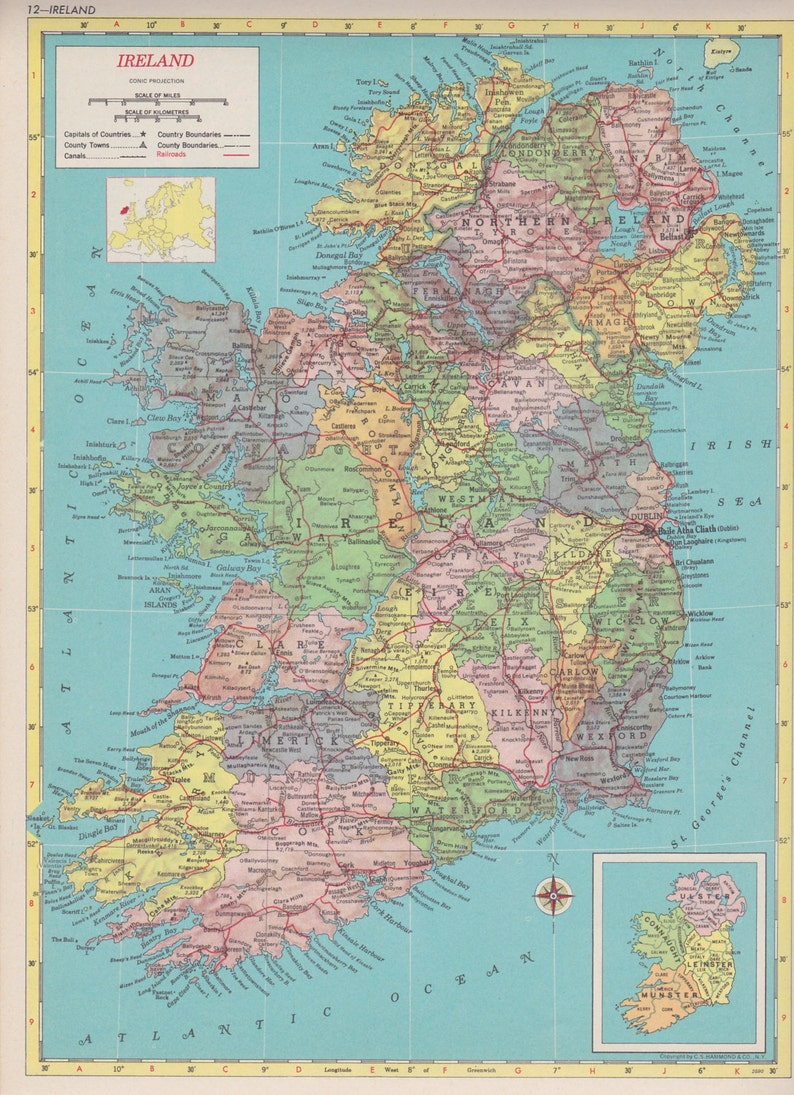 Map Of Ireland To New York.Vintage Map Art Map Of Ireland Blue 1950s Mid Century Map Print New York Usa Map Item 3003 9 5 X 12 5 16