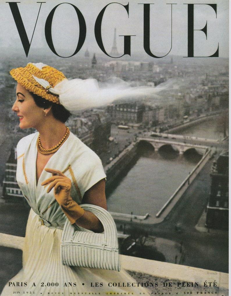 Vintage Vogue Poster, 1950s Fashion Art Print, 11 x 14 PMV800, Glossy  Print, Paris Vogue, Mid Century
